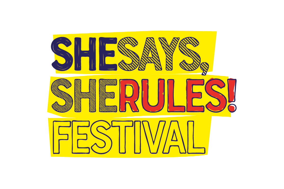 "Il logo del ""She Says, She Rules! Festival""."