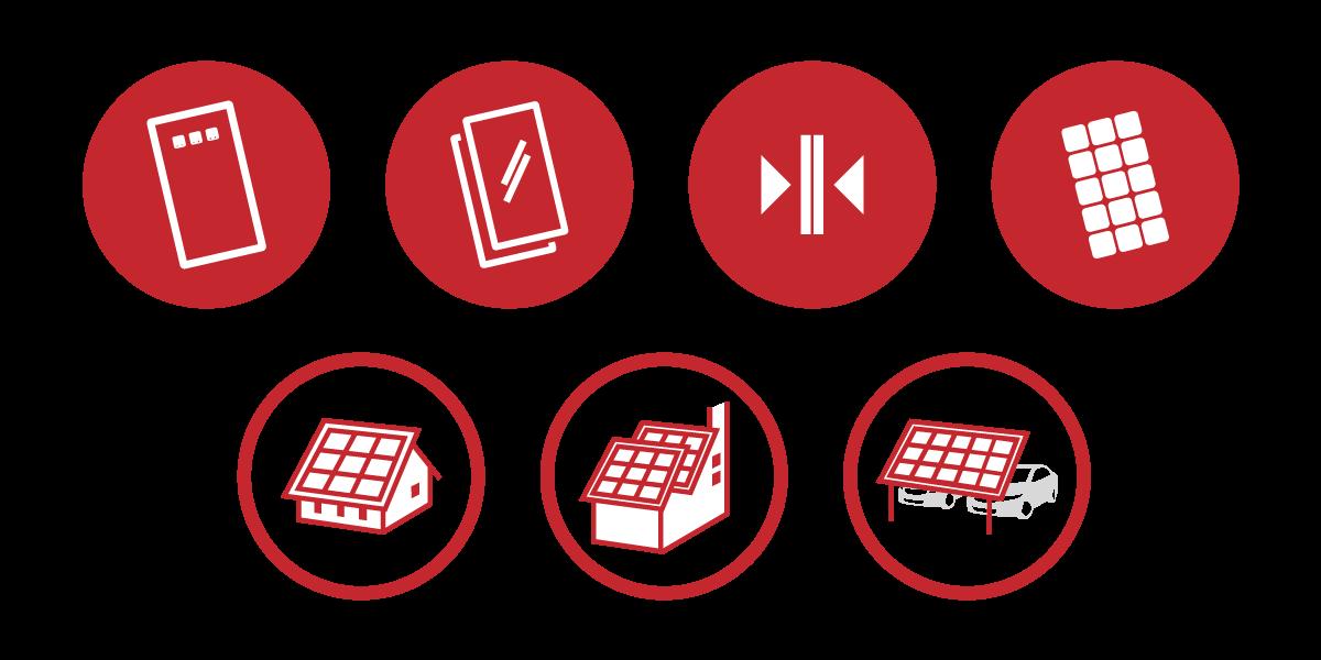 Serie di icone disegnate appositamente per il progetto